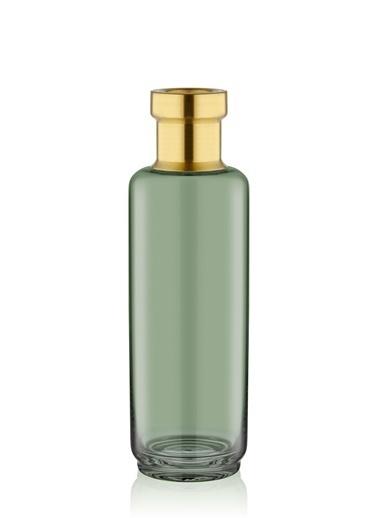 The Mia Cam Vazo Yeşil Gold Dekorlu 25*8 Cm Altın